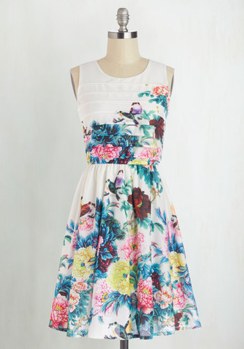 Exotic Elegance Dress - Woven, Mid-length, Floral, Graduation, A-line, Better, Scoop, Tiered, Daytime Party, Sleeveless, Spring, Press Placement, Multi, Yellow, Green, Blue, Pink, White, Top Rated, Bird, Woodland Creature