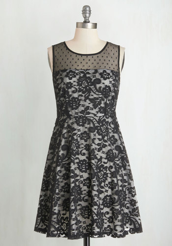 Can't Help Dancing Dress - Black, White, Lace, Party, A-line, Sleeveless, Woven, Better, Scoop, Mid-length, Lace, Girls Night Out