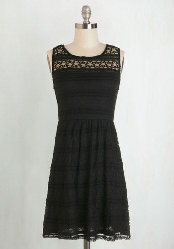 Impeccable Presence Dress - Black, Solid, Lace, Party, LBD, A-line, Sleeveless, Good, Scoop, Knit, Short