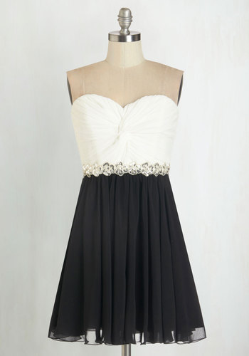Peace and Harmonics Dress - Black, White, Beads, Special Occasion, Prom, Party, A-line, Strapless, Woven, Better, Sweetheart, Sequins