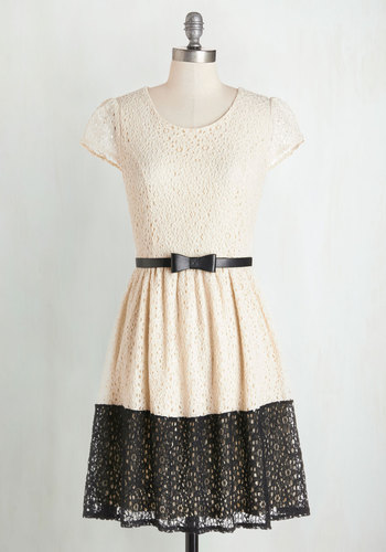 Best of Hem All Dress - Cream, Black, Bows, Lace, Belted, Daytime Party, Colorblocking, A-line, Cap Sleeves, Woven, Lace, Better, Scoop, Mid-length