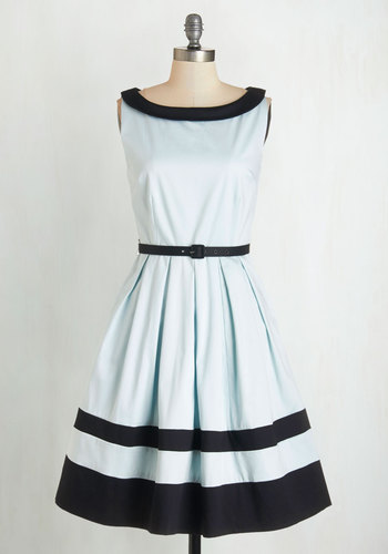 On the Terrace Dress by Myrtlewood - Cotton, Woven, Blue, Black, Belted, Daytime Party, Vintage Inspired, 50s, A-line, Sleeveless, Better, Boat, Pleats, Pockets, Pastel, Fit & Flare, Exclusives, Private Label, Full-Size Run, Spring, Mid-length