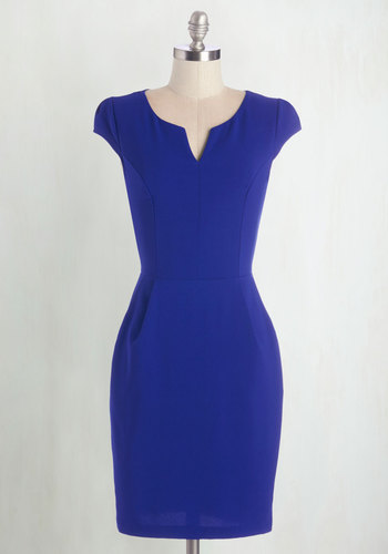 Cove Conference Dress - Blue, Solid, Pockets, Party, Work, Shift, Cap Sleeves, Knit, Good, V Neck, Mid-length