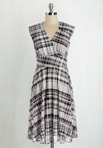 Library Reading Dress by Karina - Knit, Multi, Black, White, Plaid, Pockets, Casual, Sleeveless, V Neck, Long