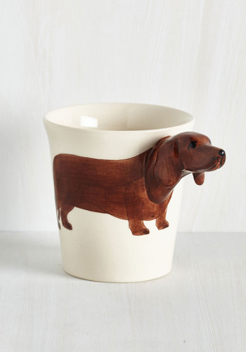 Yappy Hour Mug in Dachsund - Quirky, Dog, Good, Brown, Tan / Cream, Critters