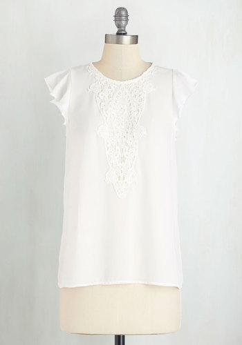 All Over Downtown Top - Woven, Mid-length, White, Solid, Crochet, Daytime Party, Spring, Summer, White, Short Sleeve, Work, Cap Sleeves, Good, Top Rated