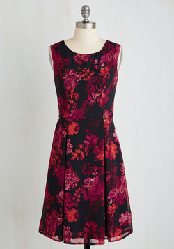 A Lady's Best Frond Dress in Magenta Flowers