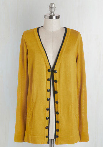 Style Theorist Cardigan - Knit, Yellow, Solid, Buttons, Pockets, Trim, Casual, Scholastic/Collegiate, Long Sleeve, Fall, Yellow, Long Sleeve