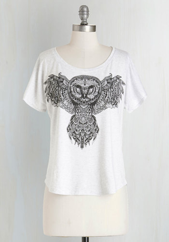 Wisely Styled Tee - Mid-length, Knit, White, Print with Animals, Casual, Owls, Critters, Short Sleeves, White, Short Sleeve, Scoop, Woodland Creature, Top Rated