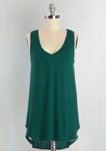 Endless Possibilities Top in Forest - Jersey, Knit, Green, Solid, Sleeveless, Variation, Green, Sleeveless, Basic, V Neck, Mid-length, Lounge