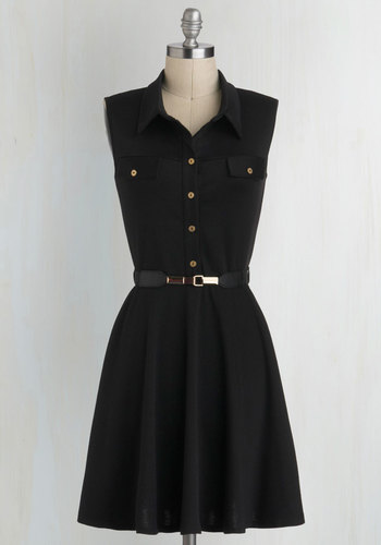 Shirt-dressed for Success - Black, Gold, Buttons, Pockets, Belted, Work, Casual, Menswear Inspired, Shirt Dress, Sleeveless, Collared, Mid-length