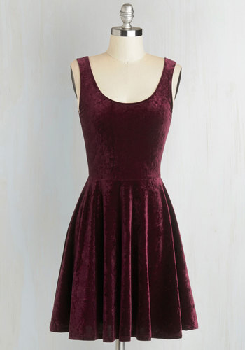 Velvet, If You Please Dress in Merlot - Mid-length, Purple, Solid, Party, A-line, Tank top (2 thick straps), Good, Scoop, Minimal, 90s, Holiday Party, WPI