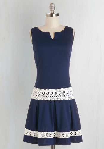 Life of the Dinner Party Dress - Blue, White, Solid, Crochet, Pleats, Drop Waist, Sleeveless, Woven, Good, Scoop, Short, Vintage Inspired, Casual, 20s