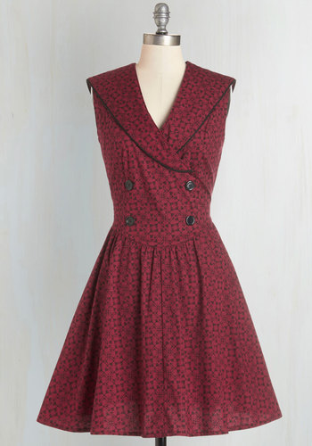 The Path to Pretty Dress - Red, Black, Print, Buttons, Trim, Casual, Sleeveless, Woven, Better, Collared, Pockets, Mid-length, Fit & Flare