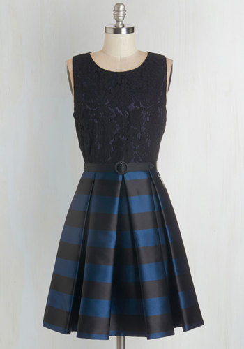 Party Person Dress - Blue, Black, Stripes, Lace, Belted, Party, A-line, Sleeveless, Woven, Better, Scoop, Pleats, Pockets