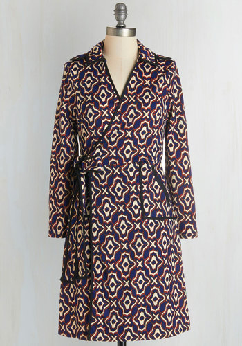 Sartorial Elegance Dress - Multi, Print, Belted, Work, Casual, A-line, Wrap, Long Sleeve, Fall, Knit, Collared, Mid-length, Pockets, Trim, Vintage Inspired, 70s
