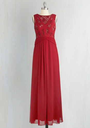 Raspberry Radiance Dress - Red, Solid, Lace, Special Occasion, Prom, Maxi, Sleeveless, Better, Woven, Long, Homecoming