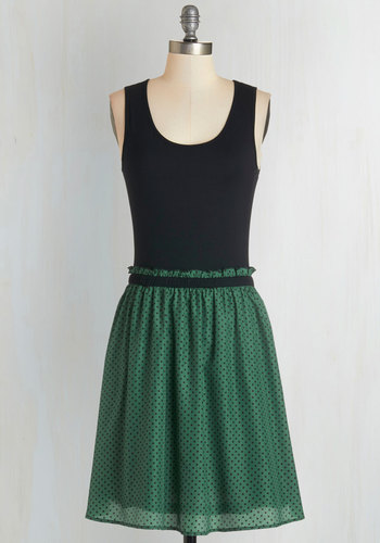 Book Fair Beauty Dress - Polka Dots, Casual, A-line, Sleeveless, Good, Scoop, Mid-length, Knit, Green, Black, Twofer, Print