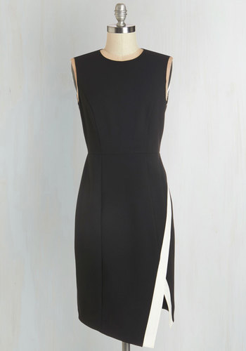 Hired Ed Dress - Woven, Black, White, Solid, Work, Shift, Sleeveless, Crew