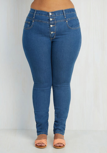 Karaoke Songstress Jeans in Classic - Plus Size - Blue, Solid, Casual, Skinny, Buttons, Denim, Basic, Fall, Exclusives, Best Seller, Variation, As You Wish Sale