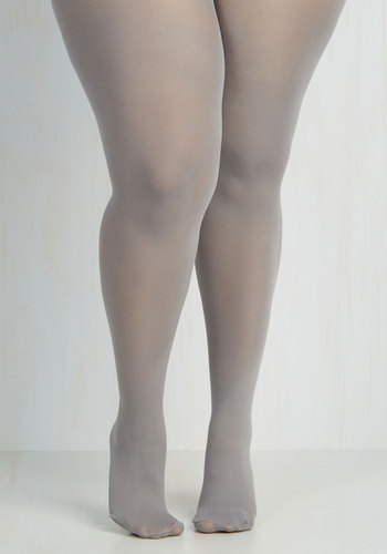 Seize the Day Tights in Grey - Plus Size by Look From London - Grey, Solid, Sheer, Variation, Fall