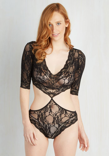 Saturday Soundtrack Bodysuit - Sheer, Knit, Black, Cutout, Lace, Boudoir, 3/4 Sleeve, Lace, Top Rated, Wedding