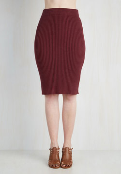 Stretch of Timeless Skirt in Maroon