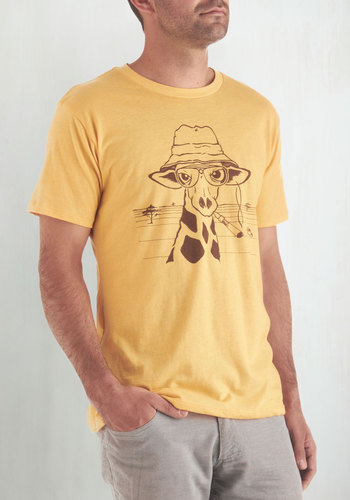 My Neck of the Woods Men's Tee - Mid-length, Yellow, Print with Animals, Casual, Safari, Short Sleeves, Brown, Guys, Critters