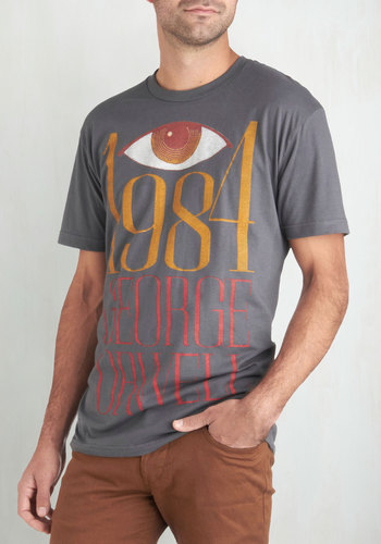 Novel Tee in Winston Smith - Men's by Out of Print - Jersey, Cotton, Grey, Red, Yellow, White, Casual, Long, Guys