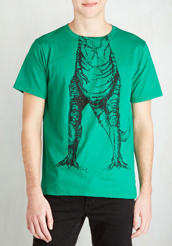 Hear You Roar Men's Tee - Mid-length, Cotton, Knit, Green, Print with Animals, Casual, Quirky, Critters, Short Sleeves, Good, Crew, Green, Short Sleeve, Black, Guys