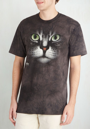 Emerging Whiskers Men's Tee - Long, Jersey, Cotton, Knit, Red, Green, White, Print with Animals, Cats, Short Sleeves, Crew, Grey, Casual, Quirky, Good, Guys, Critters