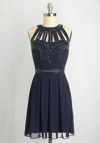 Snowfall Soiree Dress - Mid-length, Chiffon, Woven, Blue, Solid, Cutout, Pleats, A-line, Sleeveless, Better, Beads, Party, Holiday Party, Prom