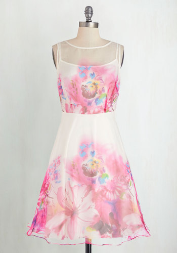 There You Glow Dress by Eva Franco - Multi, Floral, Special Occasion, Prom, Vintage Inspired, 50s, A-line, Sleeveless, Best, Scoop, Mid-length, Woven, Daytime Party, Valentine's