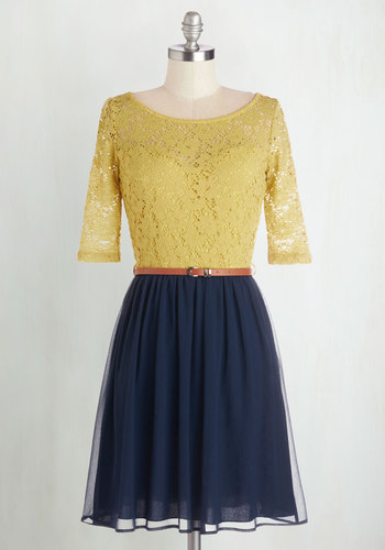 What a Delight Dress - Yellow, Blue, Lace, Belted, Casual, A-line, Short Sleeves, Good, Scoop, Knit, Mid-length, Twofer