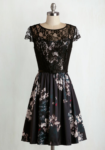 Luxe Accommodations Dress - Multi, Floral, Lace, Pockets, Party, Cocktail, A-line, Woven, Better, Scoop, Black, Belted, Cap Sleeves, Mid-length