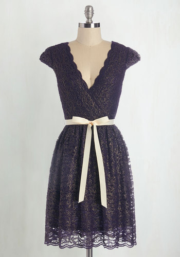 That's My Gala Dress - Purple, Gold, Lace, Scallops, Special Occasion, Party, A-line, Cap Sleeves, Fall, Woven, Lace, Good, V Neck, Belted, Bridesmaid, Wedding, Holiday Party