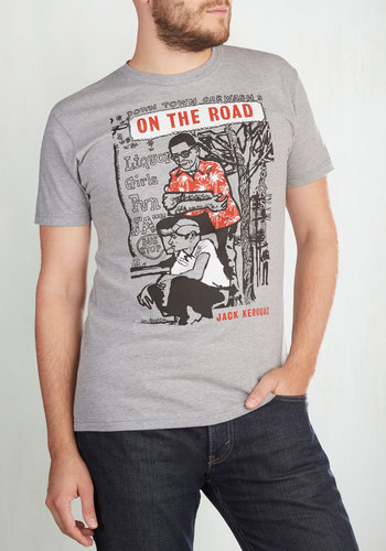 Novel Tee in Sal - Men's by Out of Print - Knit, Grey, Novelty Print, Casual, Nifty Nerd, Short Sleeves, Variation, Crew