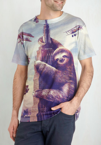 ModSloth Men's Tee - Grey, Purple, Casual, Short Sleeves, Crew, Print with Animals, Novelty Print, Quirky, Guys, Top Rated