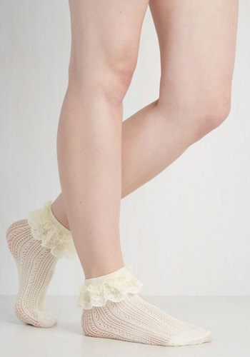 Dancing on Flair Socks - Solid, Knitted, Ruffles, Good, Sheer, Cream, Fairytale, Variation, Best Seller, Party, Spring, As You Wish Sale, Top Rated
