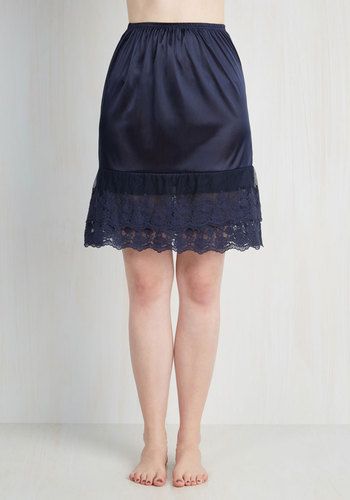 Can't Stop Dancing Half Slip in Navy - Sheer, Satin, Knit, Blue, Solid, Embroidery, Vintage Inspired, 40s, Darling, Top Rated