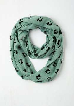 Cat Person Circle Scarf in Mint
