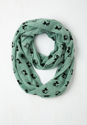 Cat Person Circle Scarf in Mint - Mint, Black, Print with Animals, Cats, Good, Woven, Casual, Pastel, Gals, Top Rated