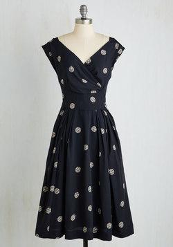 Keener Postures Dress in Navy Dots