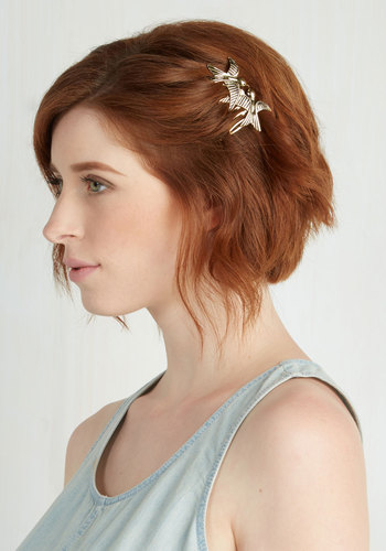 So in Love Hair Comb - Gold, Print with Animals, Casual, Good, Critters, Bird, Woodland Creature
