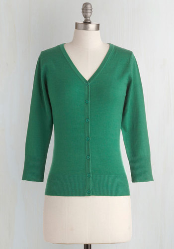 Charter School Cardigan in Kelly Green - Mid-length, Green, Solid, Work, Casual, 3/4 Sleeve, Scholastic/Collegiate, Button Down, Minimal, V Neck, Variation, Pinup, Winter, Daytime Party, Basic, Best Seller, Fall, Folk Art, Green, 3/4 Sleeve, Spring, 60s, Fruits, Top Rated