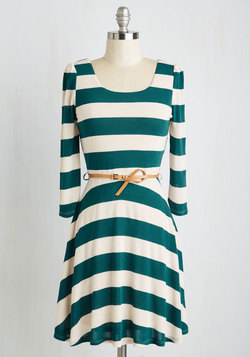 Sunday Fun Day Dress in Teal and Ivory