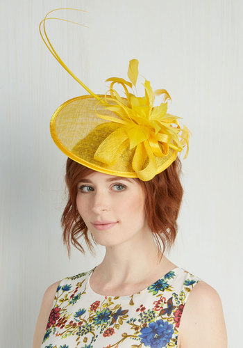Tilt the End of Time Fascinator in Yellow - Yellow, Solid, Feathers, Wedding, Daytime Party, Vintage Inspired, 40s, Statement, Spring, Bridesmaid, Top Rated