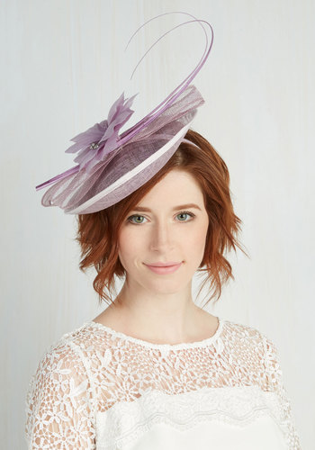 Proper Panache Fascinator - Purple, Solid, Flower, Wedding, Bridesmaid, Vintage Inspired, 30s, Statement, Pastel, Woven, Feathers, 40s, Party