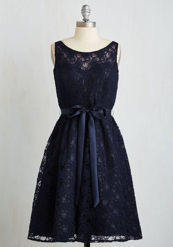 Simply Divine Dress in Navy - Wedding, Bridesmaid, Blue, Solid, Lace, Belted, Special Occasion, Sleeveless, Woven, Better, Scoop, Mid-length, Lace, Prom, Homecoming, Party, Vintage Inspired, Fit & Flare