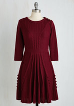 Warm Cider Dress in Burgundy | Mod Retro Vintage Dress